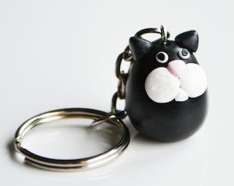 Katze als Schlüsselanhänger Keychain, Fimo, Polymer Clay