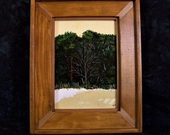 DeadTree -  Original acrylic palette knife painting  -  size: 5 x 7  frame 8 x 10