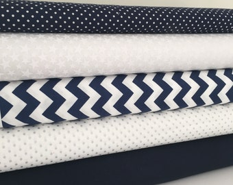 Navy, white and silver fabric Collection - Fat Quarter Bundle - New
