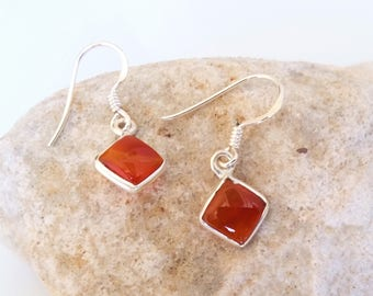 Malachite or Carnelian stone (Genuine)square, diamond shape DANGLE Earrings
