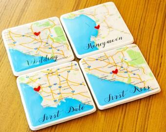 Wedding Gift Coasters Personalized Coasters Gift for Couple Custom Map Coasters  Personalized Map Gift For Her Personalized Gift