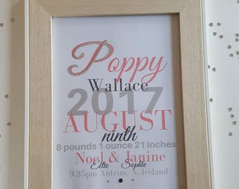 New baby girl personalised frame/ print available with marching card. Personalised with DOB, name, time and place of birth, family. Diamanté