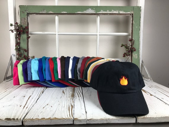 Lit Fire Emoji  Hat Embroidered Baseball Cap Dad HatLow Profile Curved Bill Pablo Hats - Multiple Colors