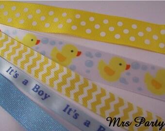 5 Yards Variety Blue Duck Ribbon Baby Boy Ribbon Blue Ribbon Blue and Yellow Duck Ribbon Blue Its A Boy Ribbon Baby Shower Ribbon