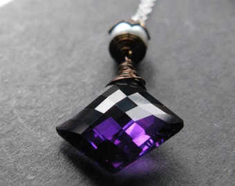To the point.  Amethyst tanzanite quartz pearl sterling silver  necklace OOAK