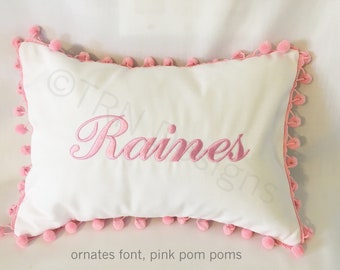 "Name Pillow Cover - Pom Pom Pillow Cover- Personalized Pillow Cover - Initial Pillow - 14x10"" Pillow Cover - Monogrammed Pillow"