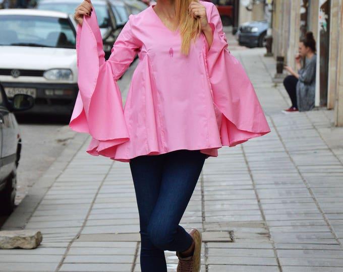 Elegant Woman Pink Cotton Shirt, Extravagant Oversize Trumpet Sleeves Shirt, Loose Maxi Shirt by SSDfashion