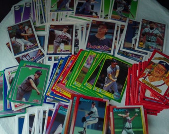 Atlanta Braves set of 219 vintage baseball cards for decoupage, framing, crafts or collecting MLB 1990-92 stars nl Smoltz FREE SHIPPING!