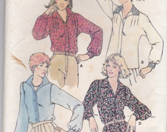 "1970s Butterick No 6317 Sewing Pattern for Womens Blouse Size 12   Bust 34"" Factory Folded Unused"