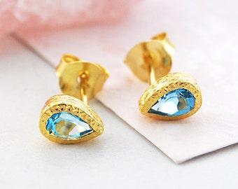 Teardrop Stud Earring, Gold Stud Earrings, Blue Topaz Studs, Gold Plated Studs, Gemstone Studs, Dainty Earrings, Blue Gemstone Earrings