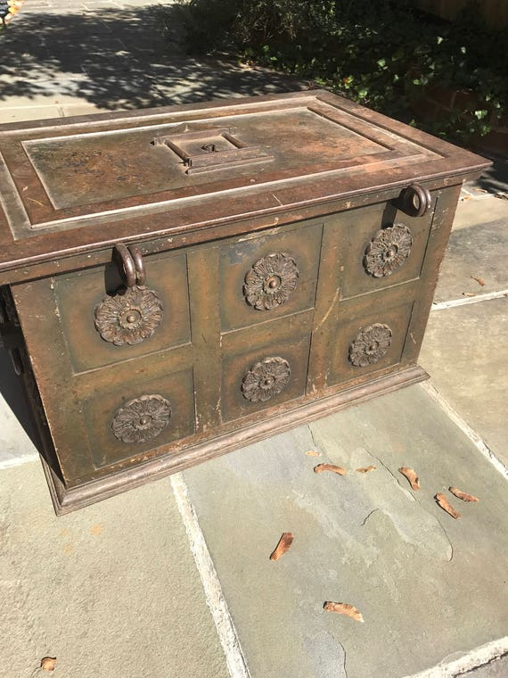 1850 German Steel Strong Box or Chest