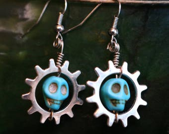 Skull Dangle Earrings, 7 Different Styles, Turquoise and Howlite Skulls, Skull Jewelry