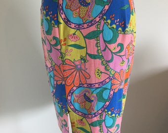 Colourful Pencil Skirt with Side Split in a Flower Motif