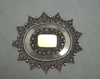 1940's-1960's 900 Silver Filigree Star Heart Pin/Pendant