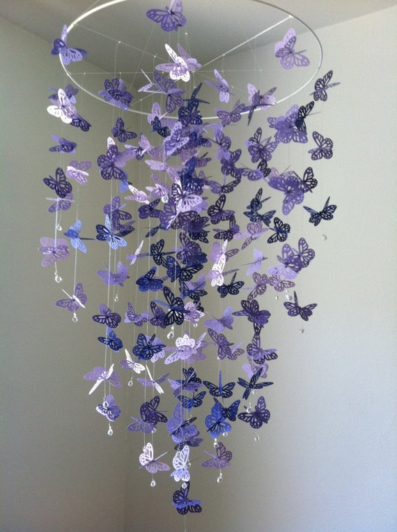Butterfly mobile chandelier mobile purple baby mobile like this item mozeypictures Gallery