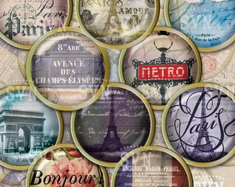 Paris - 1 inch circles - digital collage sheet - Instant Download - jewelry, cupcake toppers etc..