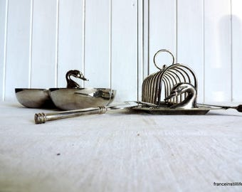 Vintage french silver plate foie gras tray, toast rack, condiment bowls, slice and serving set
