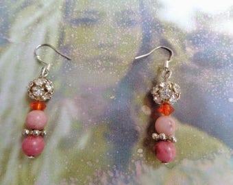 Earrings, Rhodochrosite, dangling genuine gemstone earrings