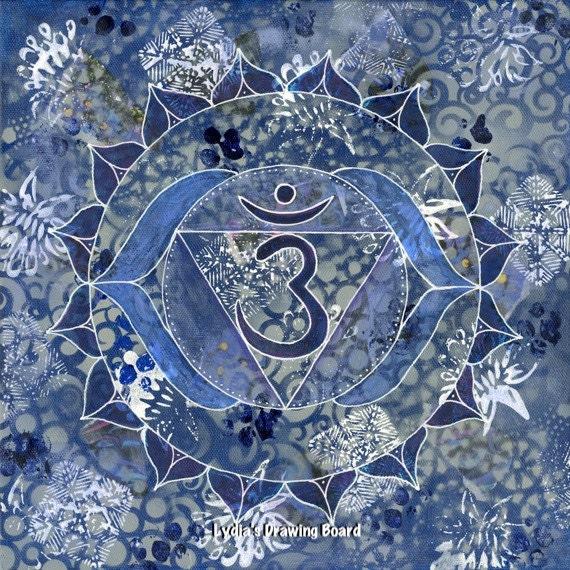 Third Eye Chakra, Chakras, Chakra Art, Yoga Studio Decor, Yoga, Meditation Art, Mandala Print, Mandala Art, Mixed Media Collage Art, Mandala