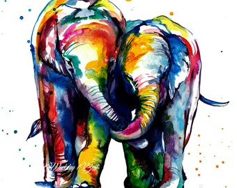 Colorful Elephants Holding Trunks Watercolor Painting -Art print of original watercolor painting