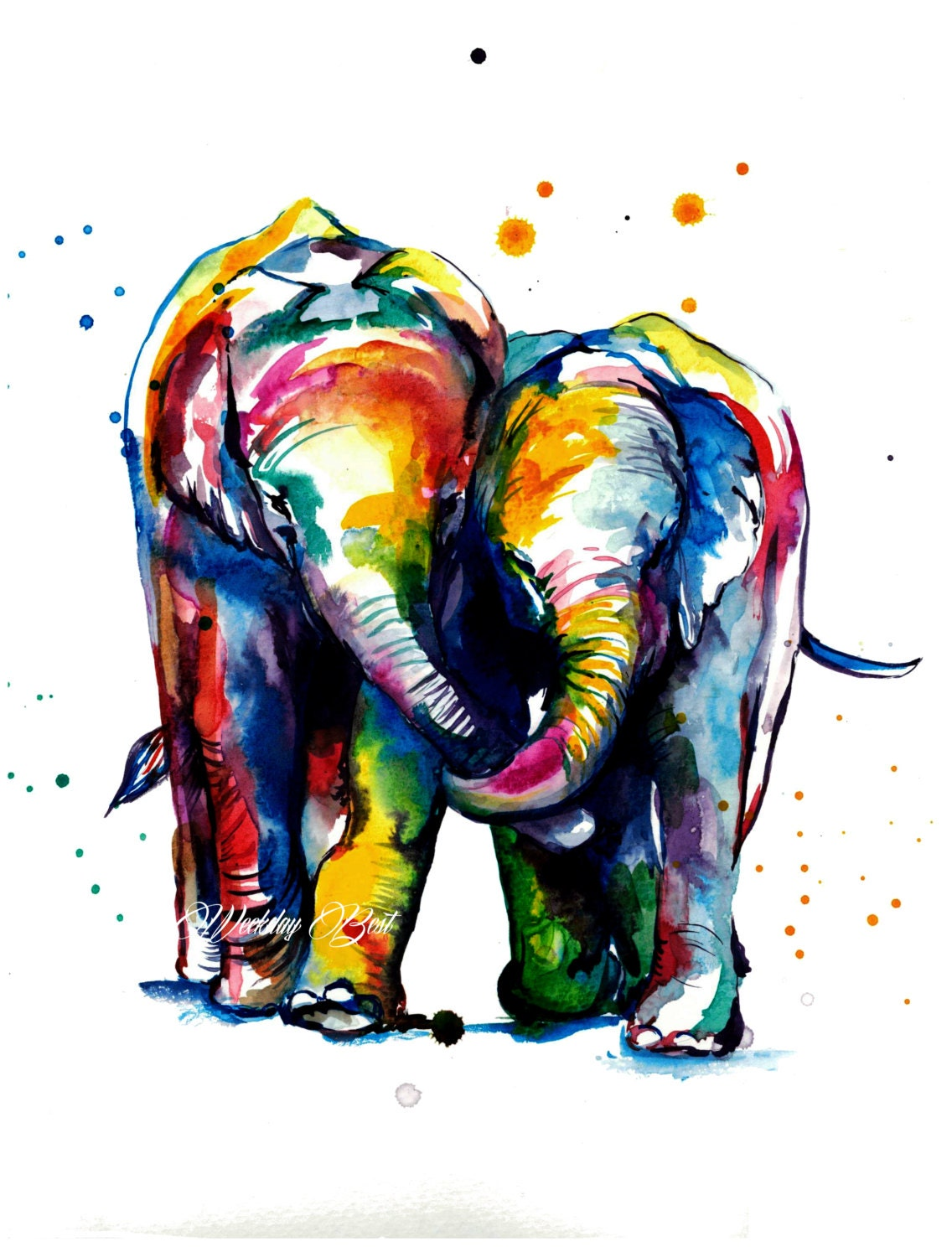 Colorful Elephants Holding Trunks Watercolor Painting Art - photo#46