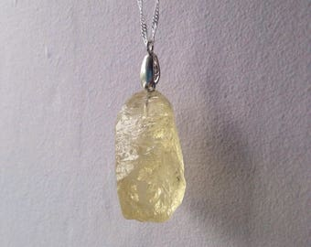 Lemon Yellow Quartz Natural Crystal Pendant Necklace