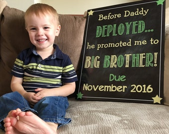 Printable Chalkboard Pregnancy Reveal Announcement // Big Sister or Big Brother Announcement // Deployment