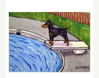 25% off Doberman Pinscher at the Pool Dog Art Print