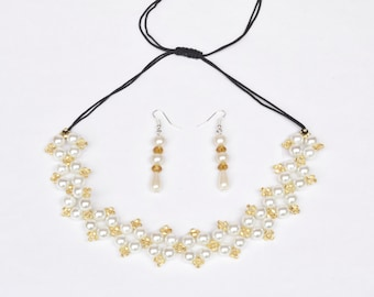 Faux Pearl and Gold Beaded Necklace/Earring Jewelry Set- crafted by Nepalese human trafficking victims
