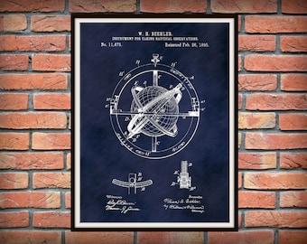 1895 Nautical Observation Patent Print - Compass Patent Print - Nautical Decor - Sailing Navigation Instrument Invention - Sailor Gift Idea