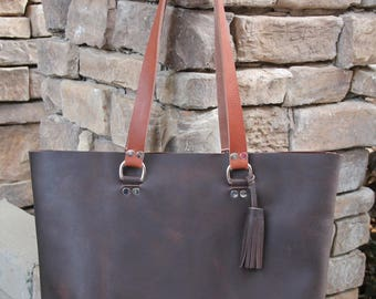 Large Tote Bag, Boss Bag, Leather Tote, Unlined Leather, Raw Edge Leather