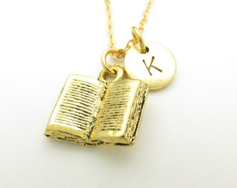 Book Necklace, Open Book Charm, Initial Necklace, Personalized, Stamped Initial Letter, Monogram Necklace Z209