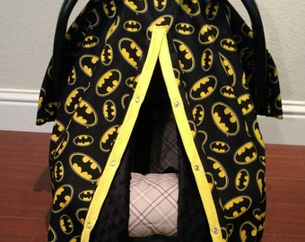 Batman Car Seat Canopy with or withought bows