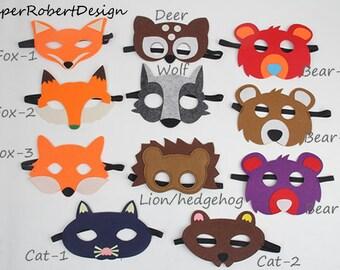 Woodlands Party mask, Woodlands Party favors, Kids Animal Maks,Woodlands Party,Bear mask,Deer Mask,Fox Mask,Cat Mask,Wolf mask,Lion/hedgehog