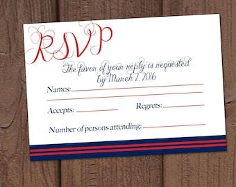 Marine Military Wedding Invitation RSVP Card