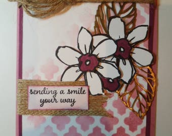 Just Because Handmade Card, Custom made card, Embellished Card, All Occasion card, Smile