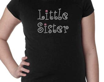 Little Sister Rhinetone Girls Tee with Optional Personalization