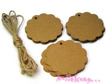 Scalloped round tags, tags, kraft paper, paper embellishment scrapbooking card making, set of 10 labels