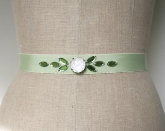 Mint Green Sash, Bridesmaid Sash, Wedding Belt, Beaded Sash