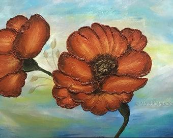 Original Acrylic Mixed Media Painting, Textured Floral Art, Modern Art, Abstract Art, Home Decor, Contemporary Art, Wall Art, Textured Art