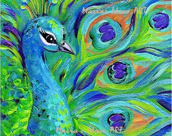 Peacock wall art, art, Bird print, 8x10 peacock painting, Bird art, Signed Print on canvas, proud peacock