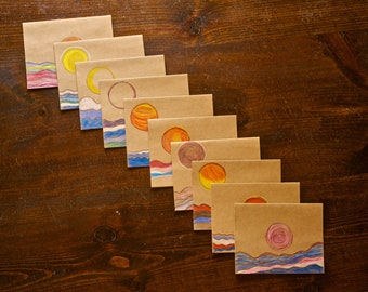 Pack of 10, blank, hand drawn with colored pencil cards