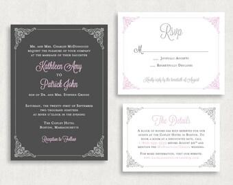 Wedding Invitation and RSVP Card (Regale) - Digital Files or Deposit on Printing (Customizable Damask Design)