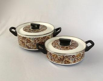 Vintage  Enamelware, Fancipan Paisley Pans, Saucepan Set, Cooking Pots, Saucepans, Brown Paisley, Cookware, Columbian Division GHC