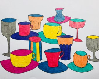 Different kind of cups and wine glasses in vivid colors
