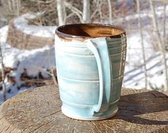 Turquoise Pottery Mug Large Hand painted Earthenware