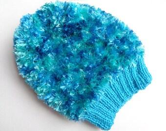 Blue Fluffy Winter Beanie