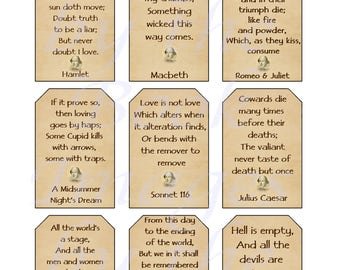 Shakespearean Quotes Printables, GIFT TAGS (2 x 3 inches)
