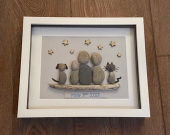 Personalised Pebble Frame, Family Gift, Scrabble Box Frame, Our Family, New Home Gift, Birthday Gift, New Parents, Pets, Pet Lovers