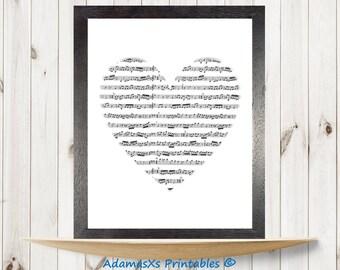 musical notes printable heart printable black and white prints music wall art